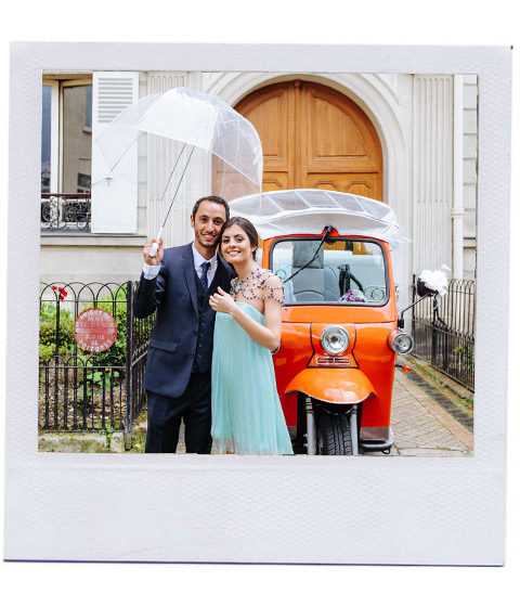 Mariage et elsa et alexandre en tuktuk